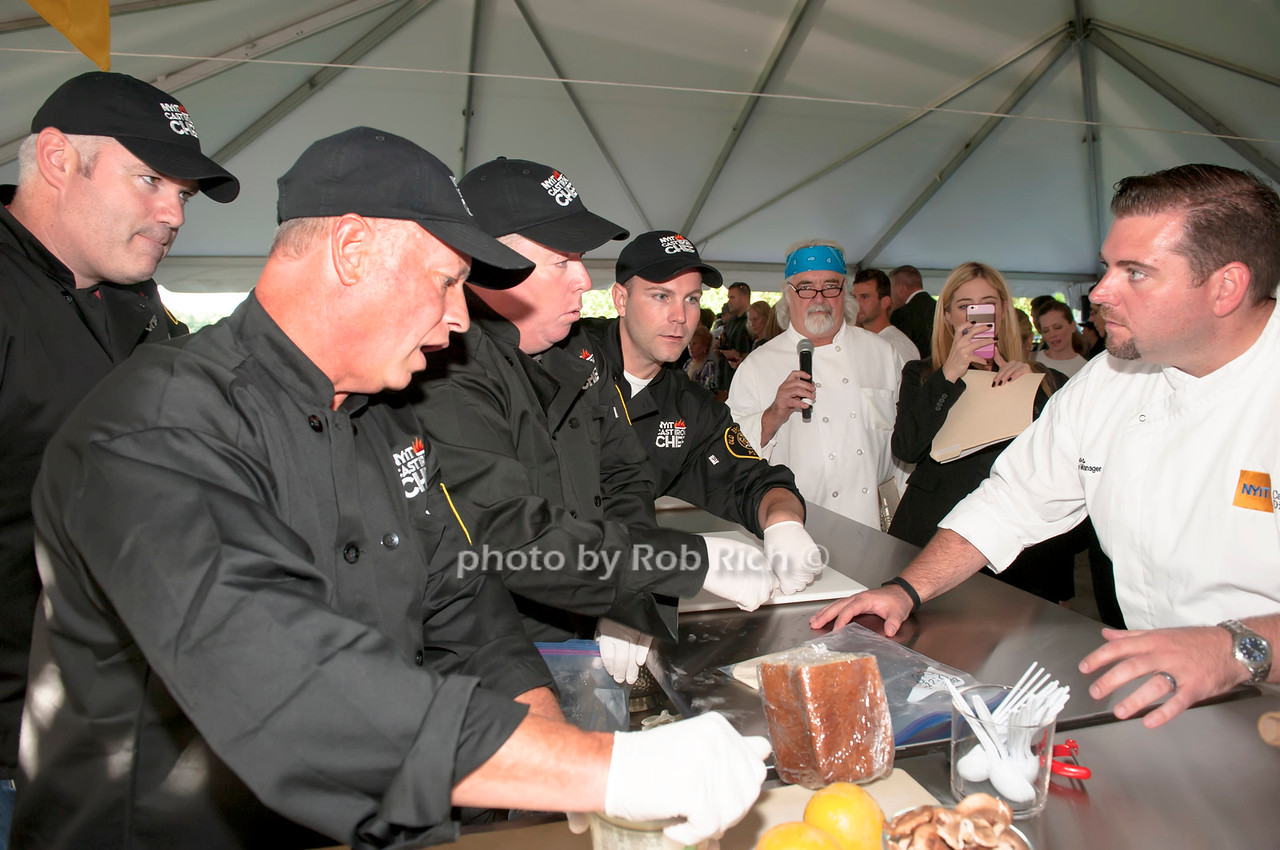 Chef Brian Hoos with team Old Brookville as Master of Ceremonies Tom Shaudel looks on.