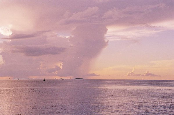 Sunset and Rain as seen from Mallory Sqare, Key West.