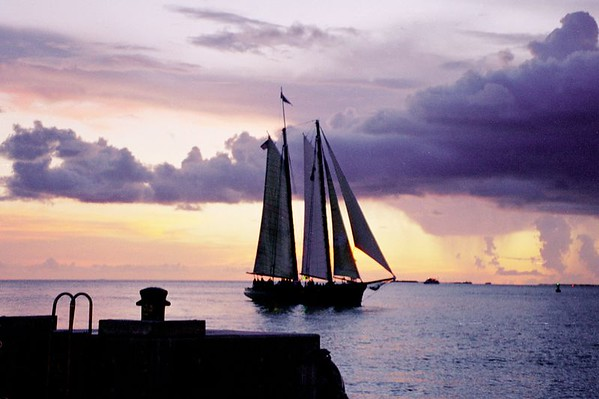 Sailing into the sunset, Key West, FL