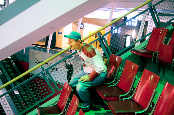 """Indoor seating with fake """"fan"""" in one of the many underground malls Montreal has to offer."""