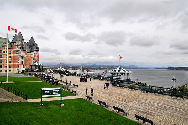 Another look at the promenade and Hotel Chateau Frontenac from the walls surrounding the city.