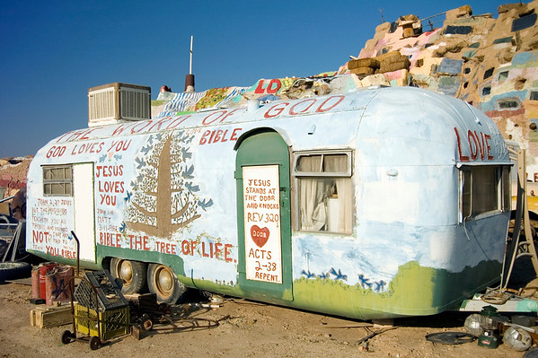 A second trailer on the premises of Salvation Mountain - not sure who lives here.