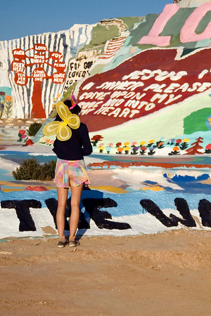 Visitors to Salvation Mountain come in all colors and ages, but this young fairy princess in particular caught my eye.