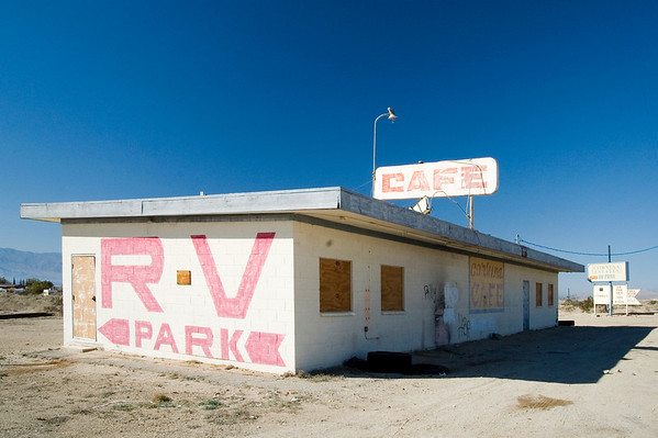 Only a few of these washed-out structures remain along the Eastern Shore, but I just loved the way they looked against the rich blue of the desert sky.  Here, the RV Park lettering is apparently somewhat new and the park really does exist but is obviously long past it's glory days.