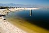 Sunlight highlights the strange colors of the Salton Sea.