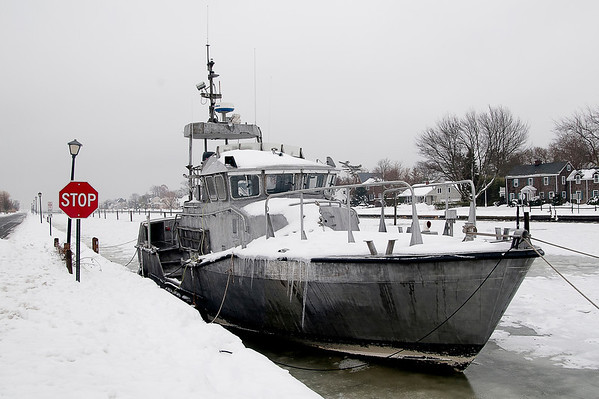 "Winter Boat ""anonymous"", anchored on a Brightwaters, NY canal (Concourse East)"