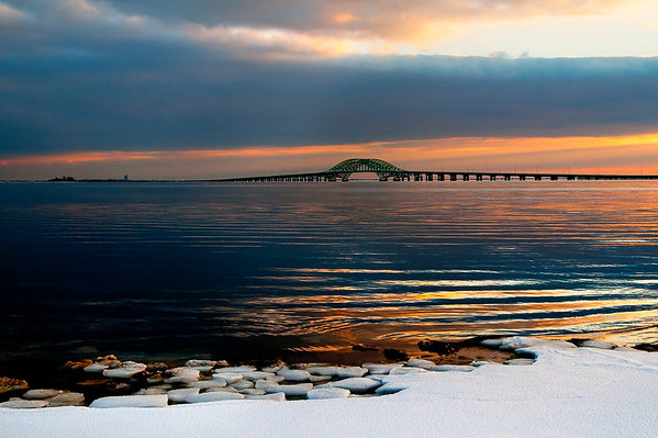 Robert Moses Bridge shortly after sunset on an icy January evening