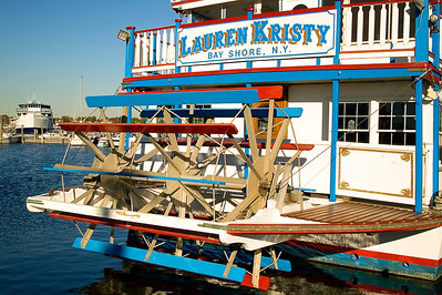 The Lauren Kristy dinner cruise riverboat, at it's home base, the Bay Shore marina