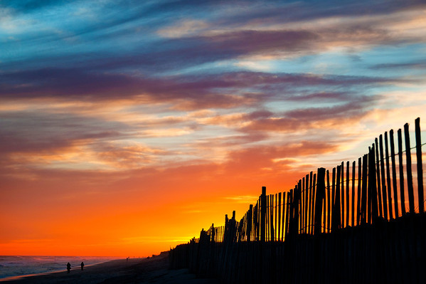 Looking west into a painterly sunset with silhouetted dune fence on a gorgeous December evening at Robert Moses Field 5