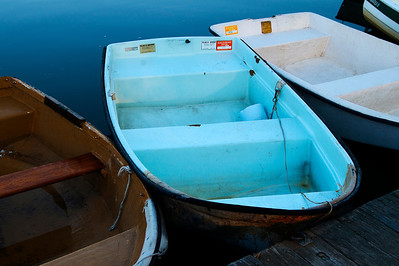 Awesomely blue dinghy in Northport Harbor
