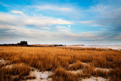 Full moon rising above Dune Road; Westhampton; NY
