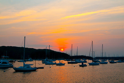 Sunset viewed from the Northport Town Dock on a summer evening