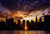 Manhattanhenge as photographed from Gantry State Plaza in Long Island City in July of 2016