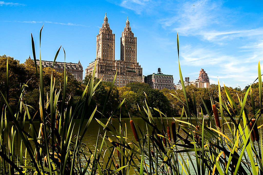 Classic San Remo Building with Central Park Lake in the foreground