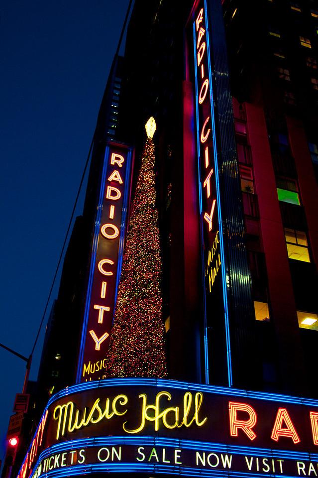 Radio City Music Hall shortly before nightfall