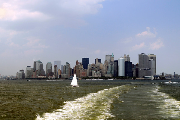 NYC Skyline as seen from the Staten Island Ferry leaving Battery Park.