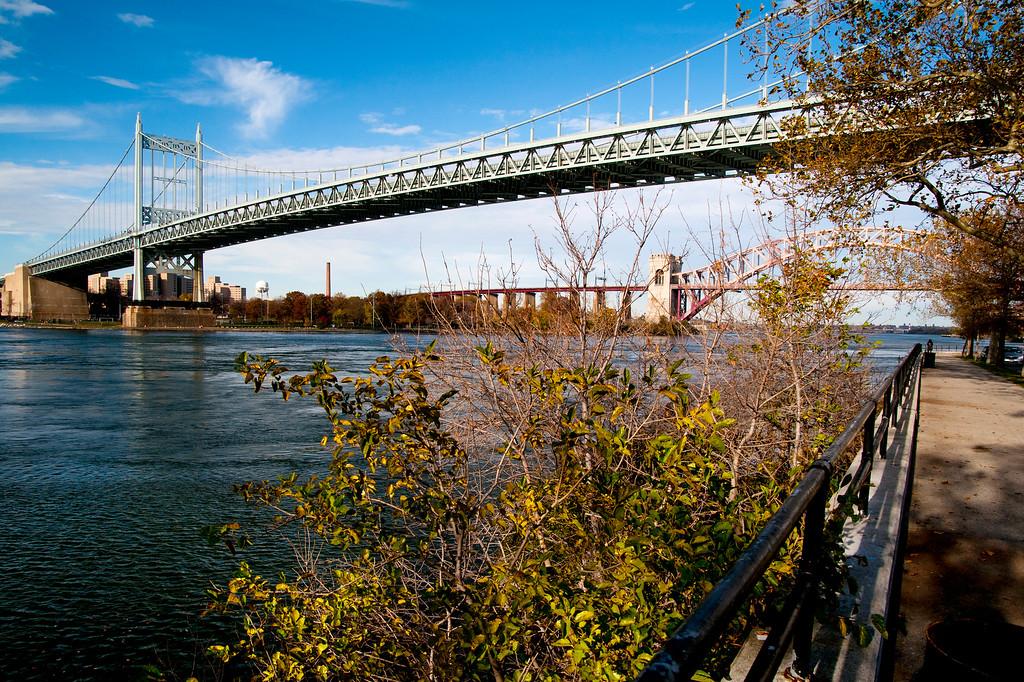 Triboro Bridge (now renamed RFK Bridge) with Hell's Gate Bridge in background, viewed from Astoria Park, Queens.