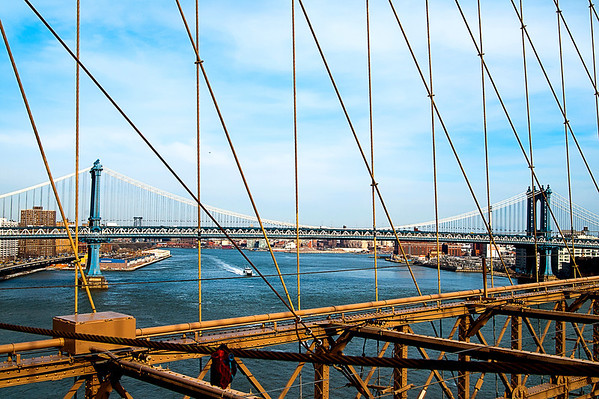Manhattan Bridge, as seen from Brooklyn Bridge, NYC
