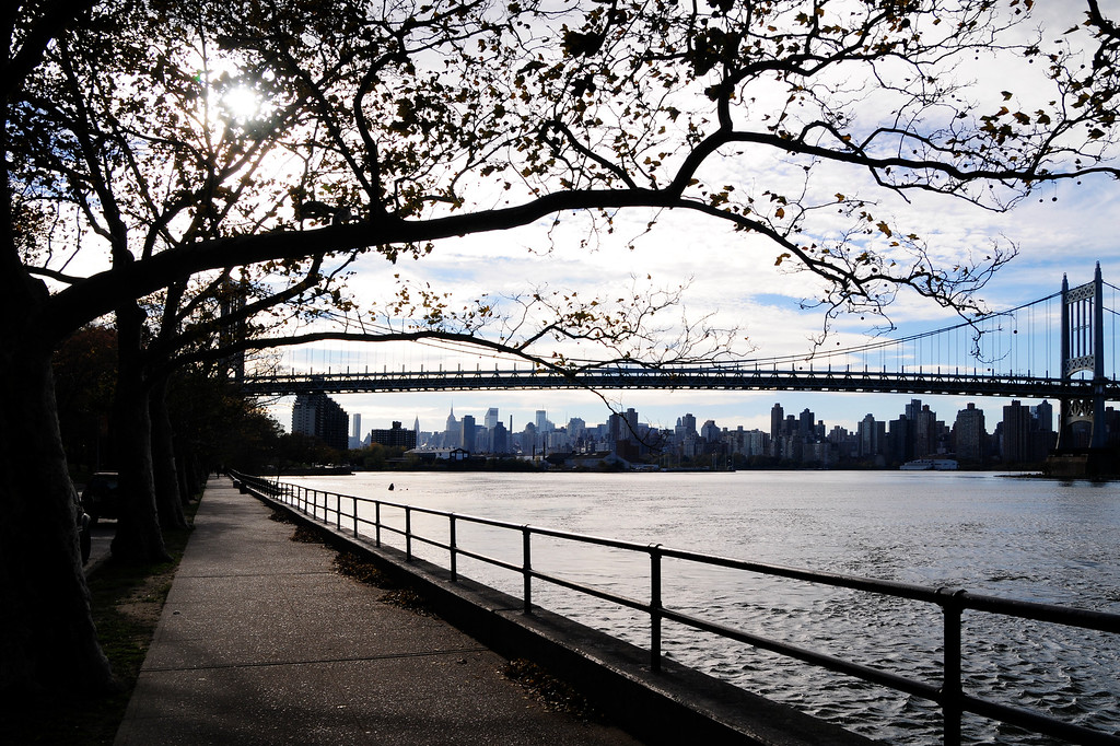 Triboro Bridge (now renamed RFK Bridge) and midtown Manhattan skyline, as seen from Astoria Park in Queens.