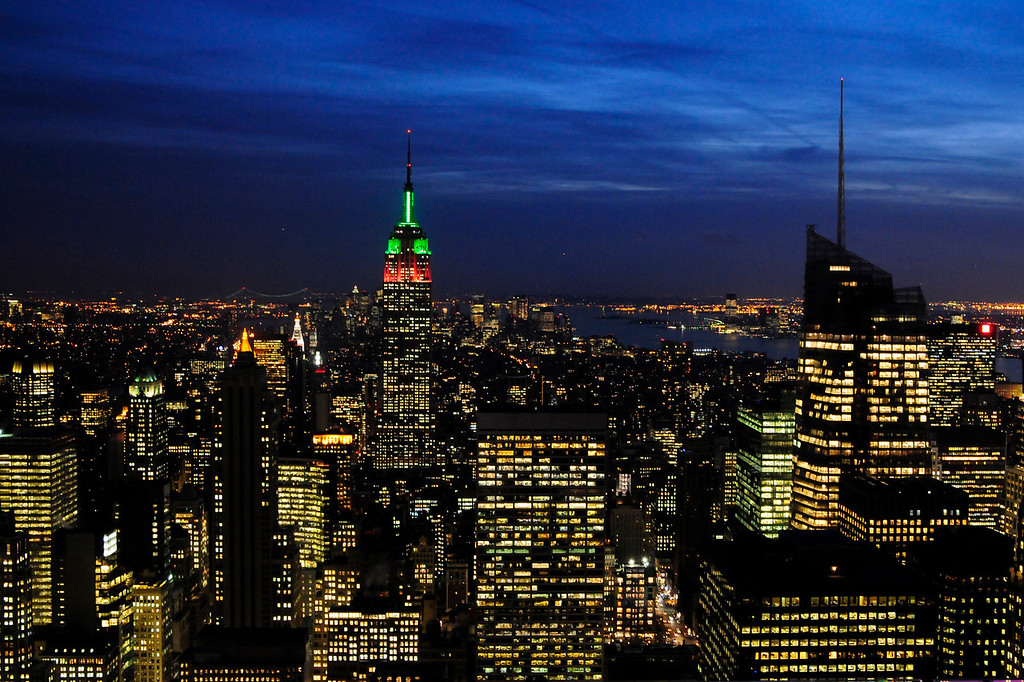 NYC at dusk with the Empire State Building sporting it's Christmas colors