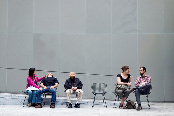 Visitors in the sculpture garden of the Museum of Modern Art.  Take a seat :).