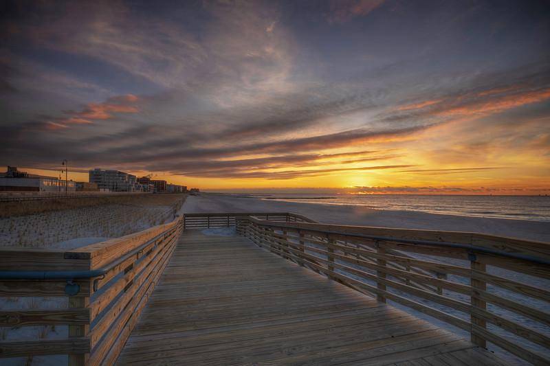 Dawn On Long Beach Walkway, Long Beach