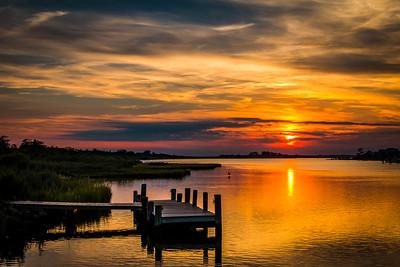 Oak Island Dock Sunset