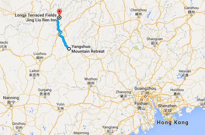 The Longji Rrice Terraces are about 3 hours from Yangshuo, to the north, by car.