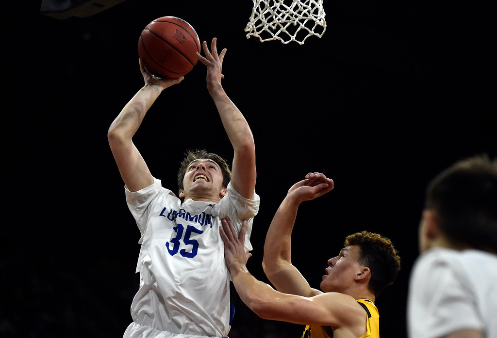 . DENVER, CO - MARCH 8, 2019: Longmont High School\'s Calvin Seamons takes a shot during a CHSAA 4A Final Four playoff game against Pueblo East on Friday at the Denver Coliseum. Longmont won the game. More photos: BoCoPreps.com (Photo by Jeremy Papasso/Staff Photographer)