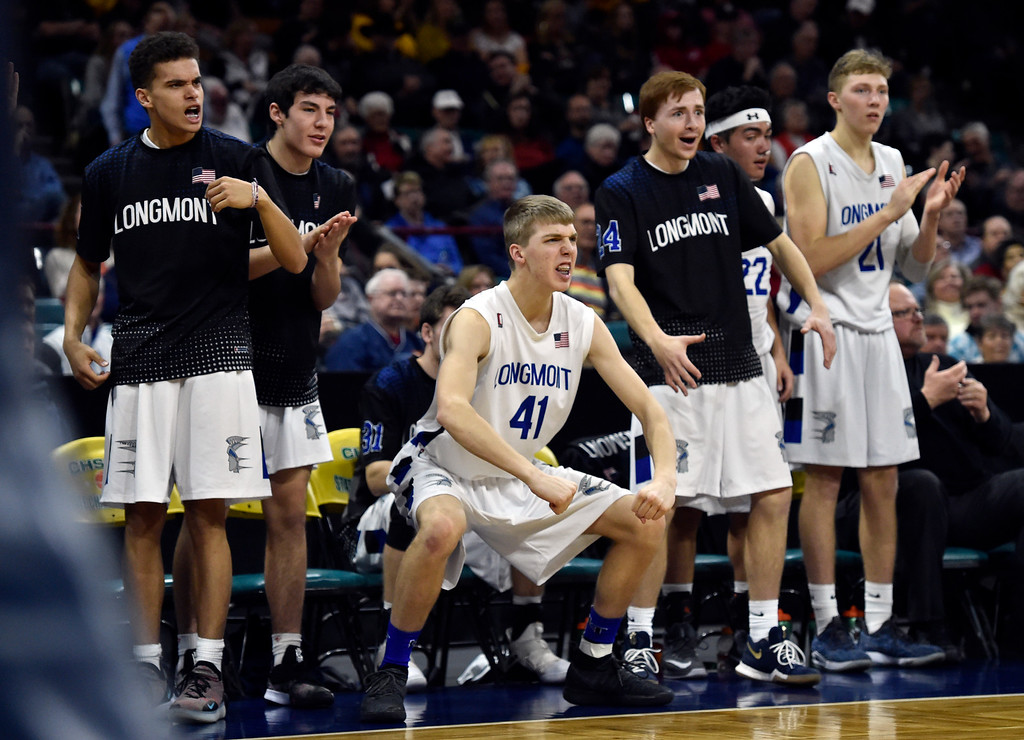 . DENVER, CO - MARCH 8, 2019: Longmont High School\'s Eddie Kurjak, at center, celebrates in the final minute of the game during a CHSAA 4A Final Four playoff game against Pueblo East on Friday at the Denver Coliseum. Longmont won the game. More photos: BoCoPreps.com (Photo by Jeremy Papasso/Staff Photographer)