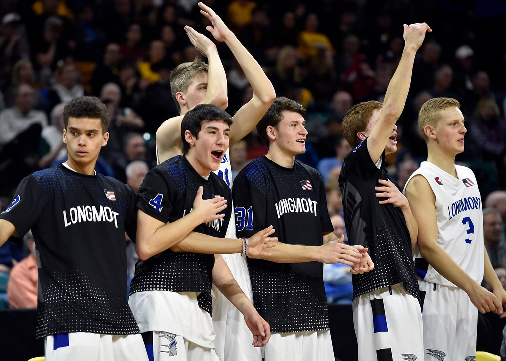 . DENVER, CO - MARCH 8, 2019: The Longmont High School boys celebrate after winning a CHSAA 4A Final Four playoff game against Pueblo East on Friday at the Denver Coliseum. Longmont won the game. More photos: BoCoPreps.com (Photo by Jeremy Papasso/Staff Photographer)