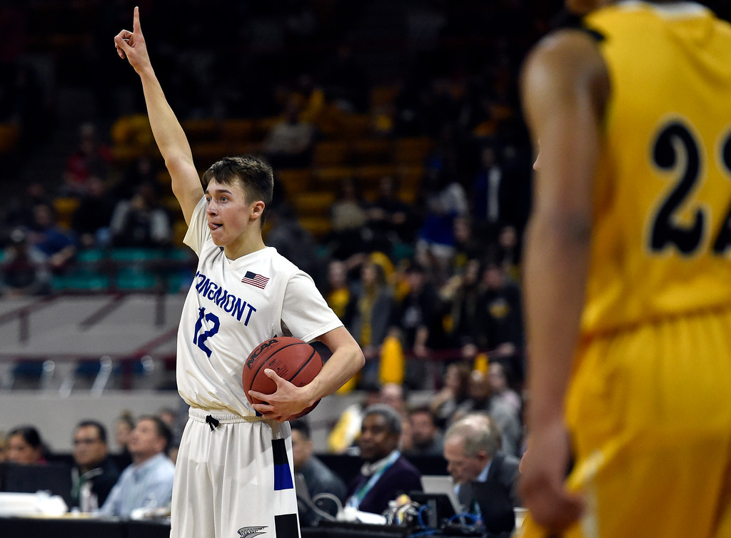 . DENVER, CO - MARCH 8, 2019: Longmont High School\'s Brady Renck celebrates after winning a CHSAA 4A Final Four playoff game against Pueblo East on Friday at the Denver Coliseum. Longmont won the game. More photos: BoCoPreps.com (Photo by Jeremy Papasso/Staff Photographer)