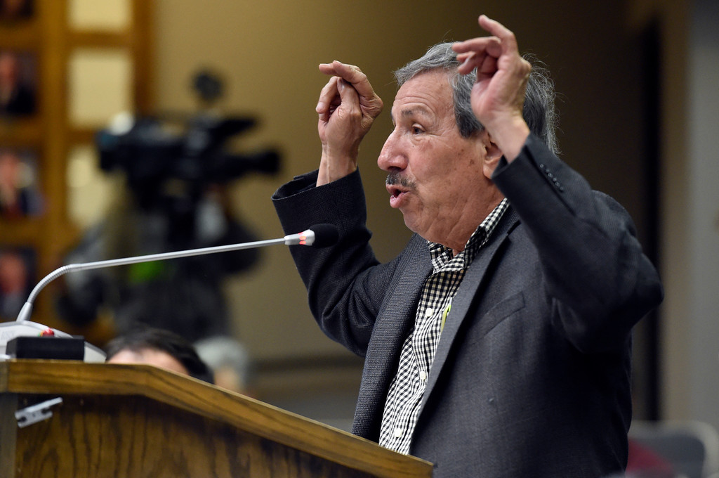 ". Longmont resident Dan Benavidez speaks during public comment regarding the issue of becoming a sanctuary city during a Longmont City Council meeting in the Civic Center on Tuesday in Longmont. "" We already belong, we feel like we belong,\"" said Benevidez, who has lived in Longmont for over 50 years. Jeremy Papasso/ Staff Photographer/ May 16, 2017"