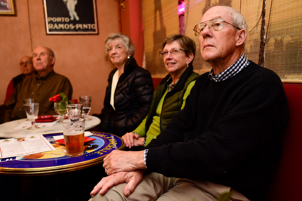 . Roger Lange, candidate for Longmont Mayor, right, watches election results at Cheese Importers in Longmont, Colorado on Nov. 7, 2017. (Photo by Matthew Jonas/Times-Call)