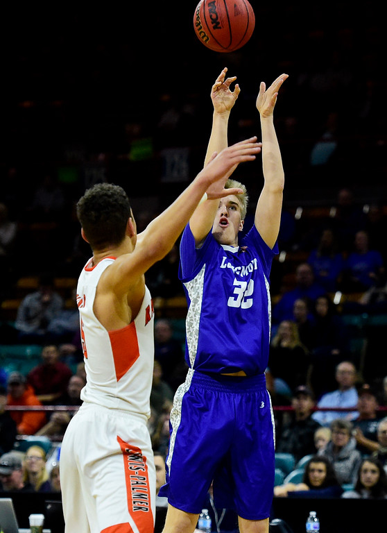 . Longmont High School\'s Beck Page (No. 32) hits a three point basket against Lewis Palmer High School in the class 4A state basketball final at the Denver Coliseum in Denver, Colorado on March 10, 2018. (Photo by Matthew Jonas/Staff Photographer)