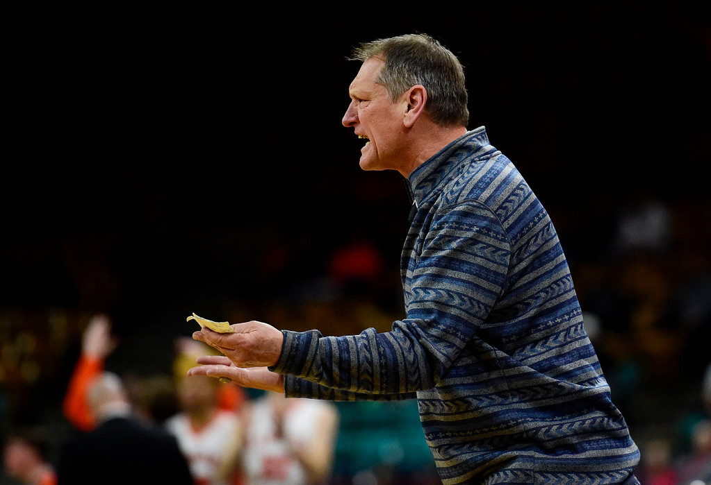 . DENVER, CO - MARCH 9:Longmont High School\'s Head Coach Jeff Kloster during the game against Lewis Palmer High School during the 4A state basketball final at the Denver Coliseum on March 9, 2019. The Trojans were defeated by the Rangers, 57-52. (Photo by Matthew Jonas/Staff Photographer)