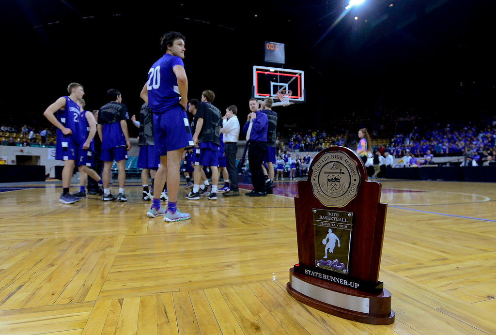 . DENVER, CO - MARCH 9:The State Runner-Up trophy sits on the court after Longmont High School was defeated by Lewis Palmer High School during the 4A state basketball final at the Denver Coliseum on March 9, 2019. The Trojans were defeated by the Rangers, 57-52. (Photo by Matthew Jonas/Staff Photographer)