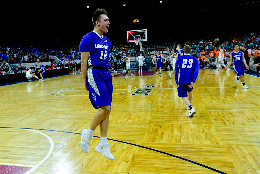 . Longmont High School\'s Brady Renck (No. 12) celebrates a win over Pueblo South High School in the class 4A state basketball final four game at the Denver Coliseum in Denver, Colorado on March 9, 2018. (Photo by Matthew Jonas/Staff Photographer)