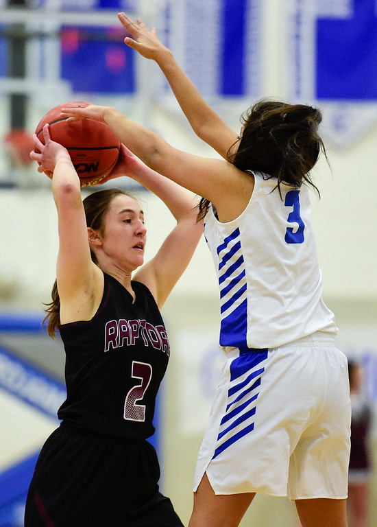 . LONGMONT, CO - JANUARY 30:Longmont High School\'s (No. 3) tries to block a pass from Silver Creek High School\'s Emily Canvasser (No. 2) in Longmont on Jan. 30, 2019. (Photo by Matthew Jonas/Staff Photographer)