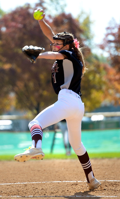 . LONGMONT, CO: October 13, 2018: Maddie Kuehl, of Silver Creek, pitches against JFK High during regional games on October 13, 2018. (Photo by Cliff Grassmick/Staff Photographer)