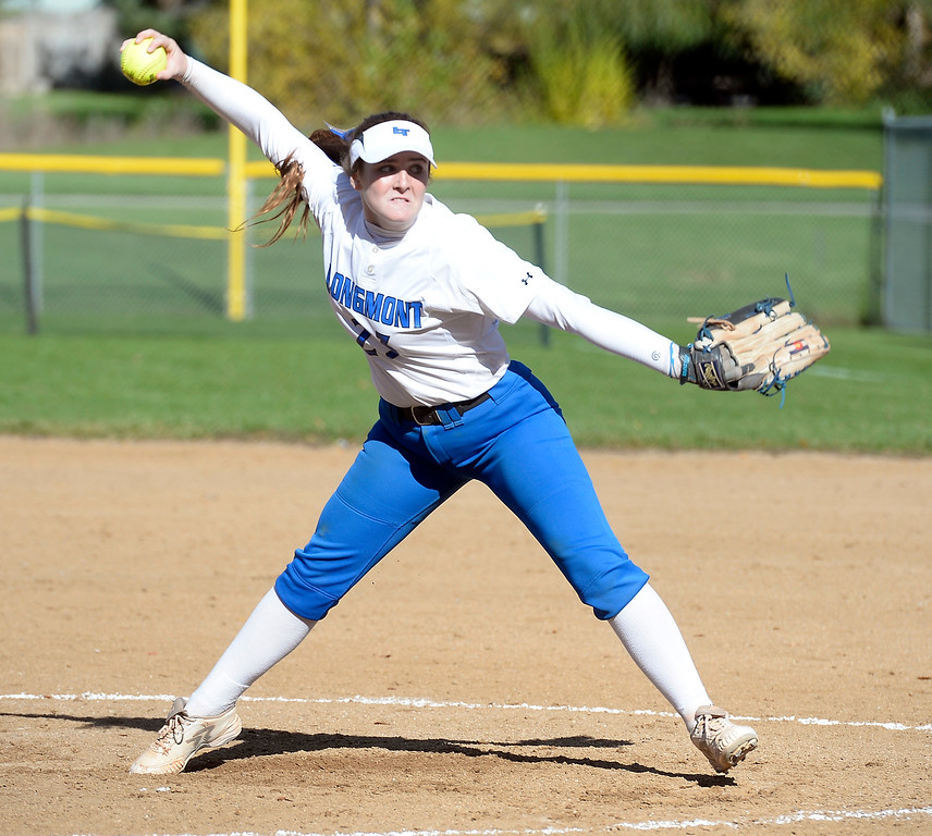 . LONGMONT, CO: October 13, 2018: Aaliyah Encinia Castillo, of Longmont, pitches against Weld Central during regional games on October 13, 2018. (Photo by Cliff Grassmick/Staff Photographer)