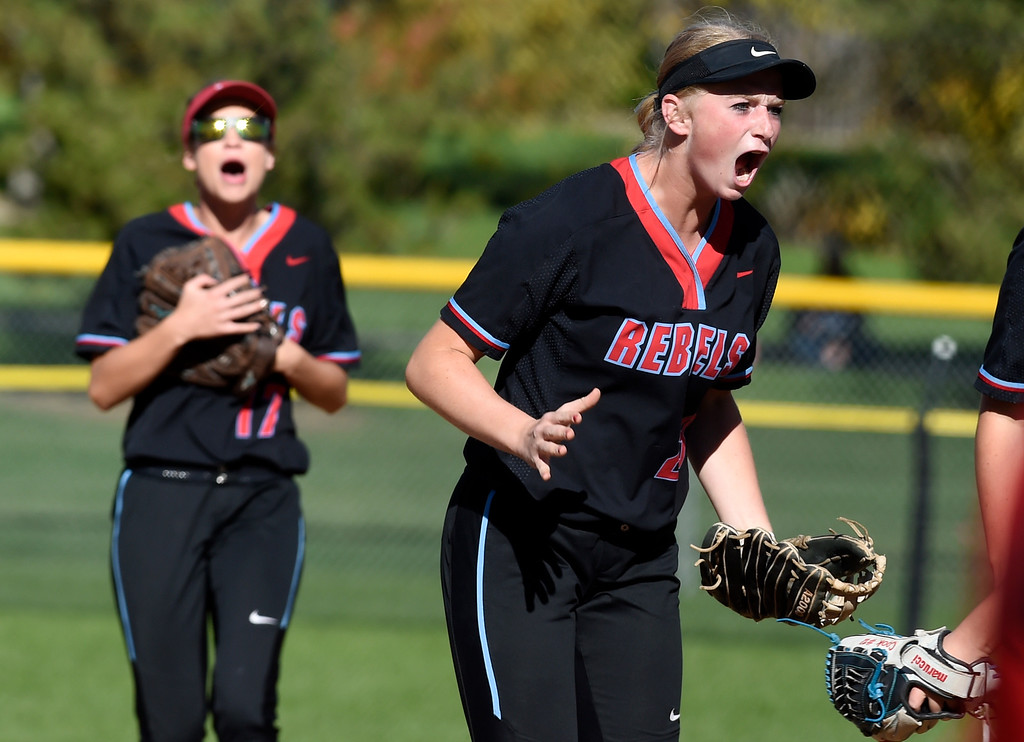 . LONGMONT, CO: October 13, 2018: Carly Powley, of Weld Central, gets excited after turning a double play against Longmont during regional games on October 13, 2018. (Photo by Cliff Grassmick/Staff Photographer)