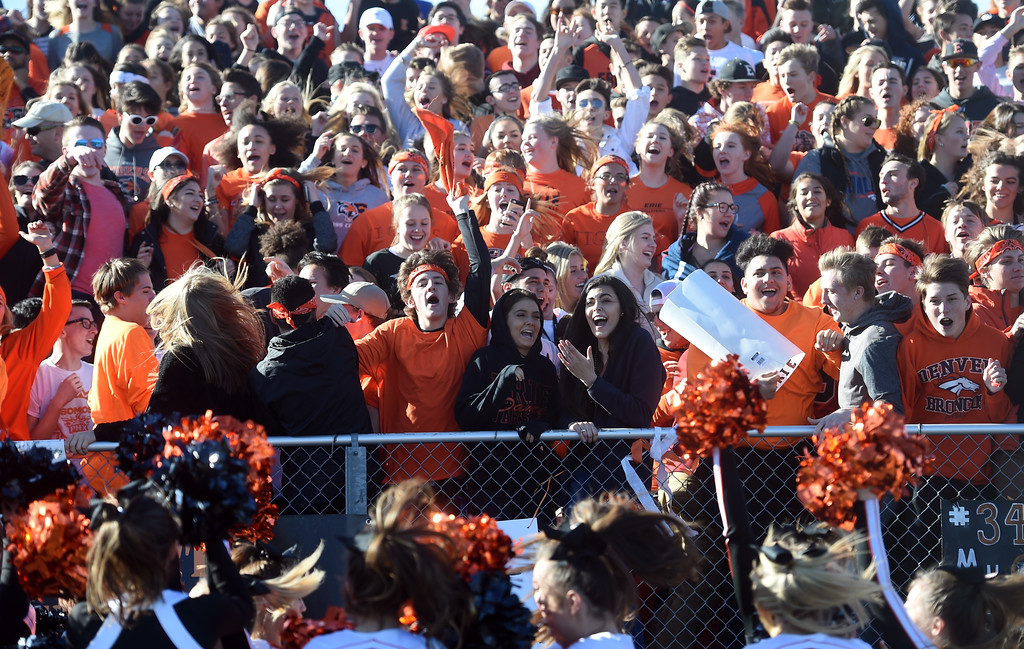. Erie High fans get pumped up before the game with Longmont during the 3A semifinals at Erie High School on Saturday. For more photos, go to BoCoPreps.com  Cliff Grassmick / Staff Photographer/ November 25, 2017, 2017