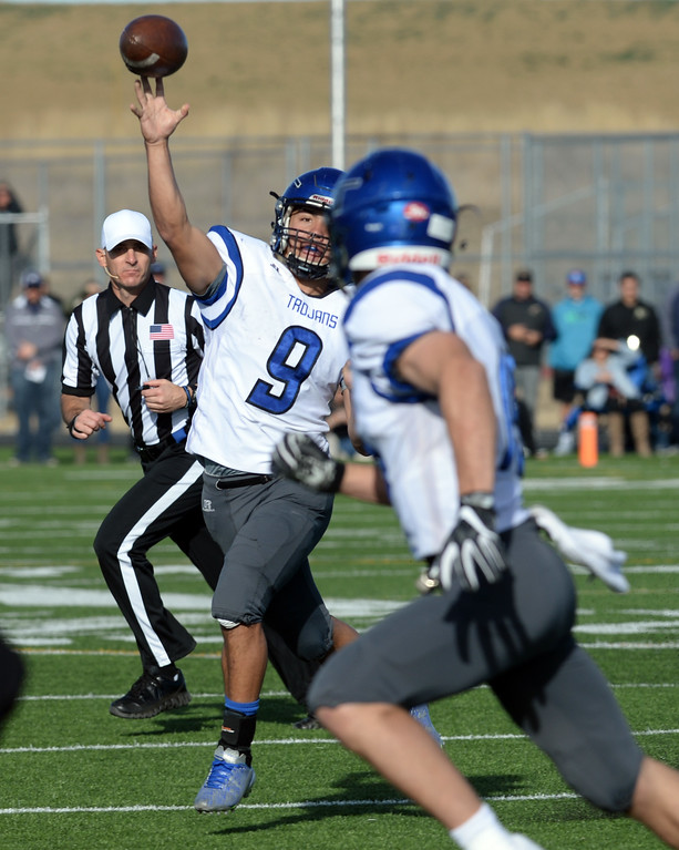 . Oakley Dehning, of Longmont, looks to throw against Erie during the 3A semifinals at Erie High School on Saturday. For more photos, go to BoCoPreps.com  Cliff Grassmick / Staff Photographer/ November 25, 2017, 2017