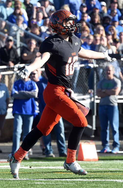 . Jacob Mansdorfer, of Erie, celebrates a touchdown against Longmont during the 3A semifinals at Erie High School on Saturday. For more photos, go to BoCoPreps.com  Cliff Grassmick / Staff Photographer/ November 25, 2017, 2017