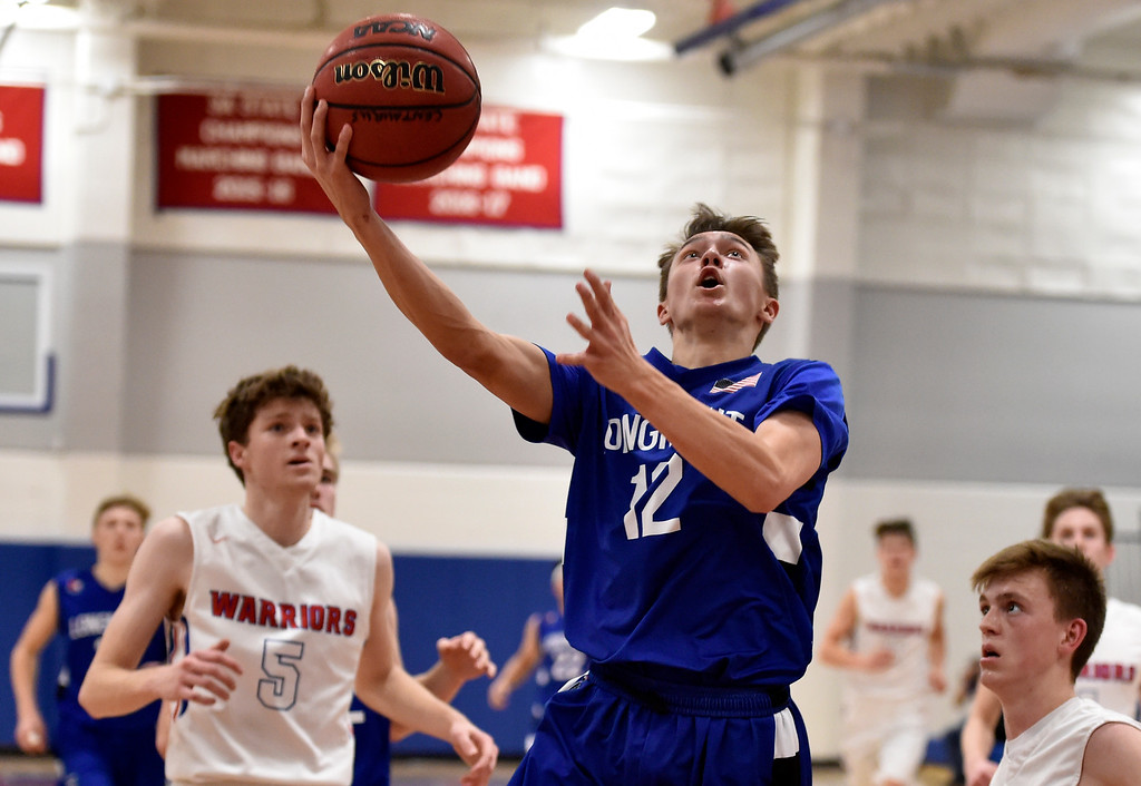 . LAFAYETTE, CO - FEBRUARY 5, 2019: Longmont High School\'s Brady Renck goes for a layup during a CHSAA basketball game against Centaurus on Tuesday in Lafayette. More photos: BoCoPreps.com (Photo by Jeremy Papasso/Staff Photographer)