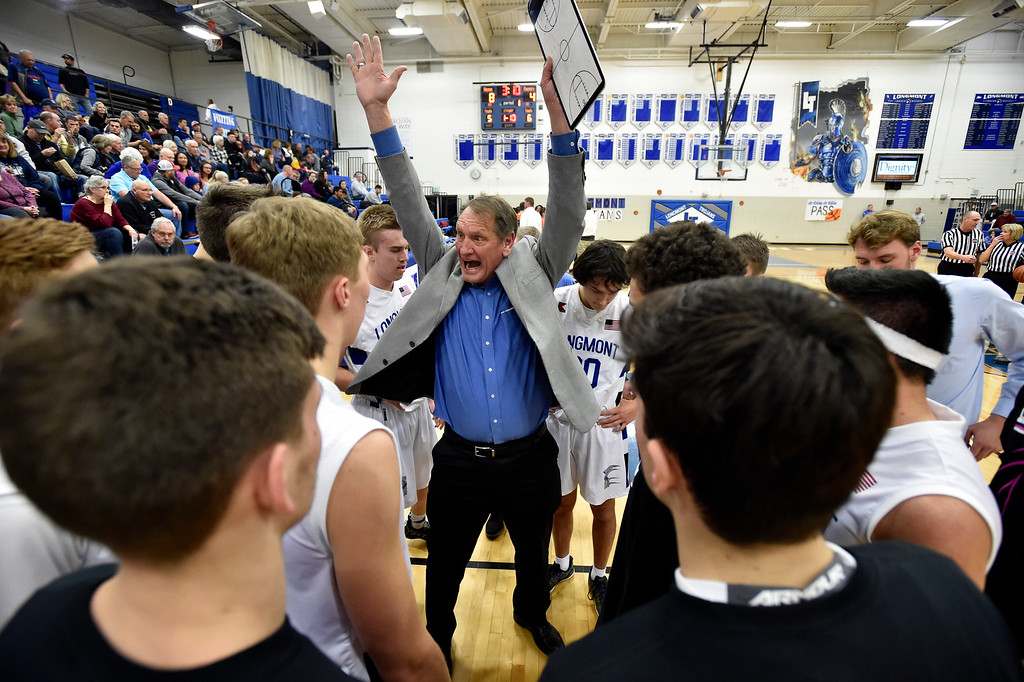 . LONGMONT, CO - JANUARY 25, 2019: Longmont High School Head Coach Jeff Kloster talks with his team in a time out during a game against Greeley Central on Friday in Longmont. More photos: BoCoPreps.com (Photo by Jeremy Papasso/Staff Photographer)