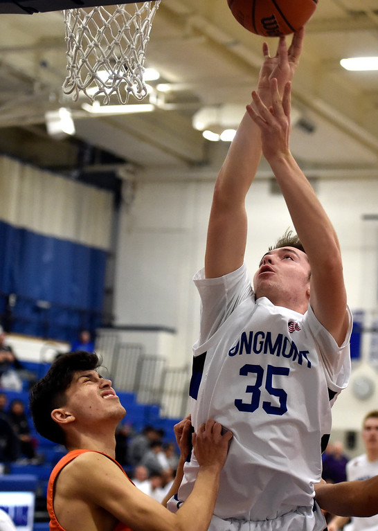 . LONGMONT, CO - JANUARY 25, 2019: Longmont High School\'s Calvin Seamons takes a shot during a game against Greeley Central on Friday in Longmont. More photos: BoCoPreps.com (Photo by Jeremy Papasso/Staff Photographer)