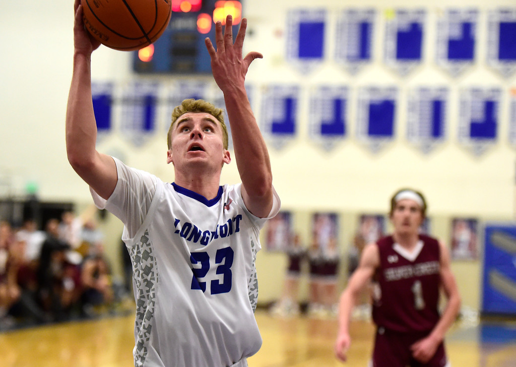 . Longmont High School\'s Caden Dion goes for a layup during a game against Silver Creek on Thursday in Longmont. More photos: BoCoPreps.com Jeremy Papasso/ Staff Photographer 02/08/2018