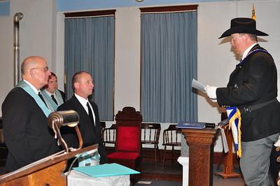 Bro. Bill McNutt and Bro. Matt Moody receiving their Diploma from Grand Master Joe D. McBride